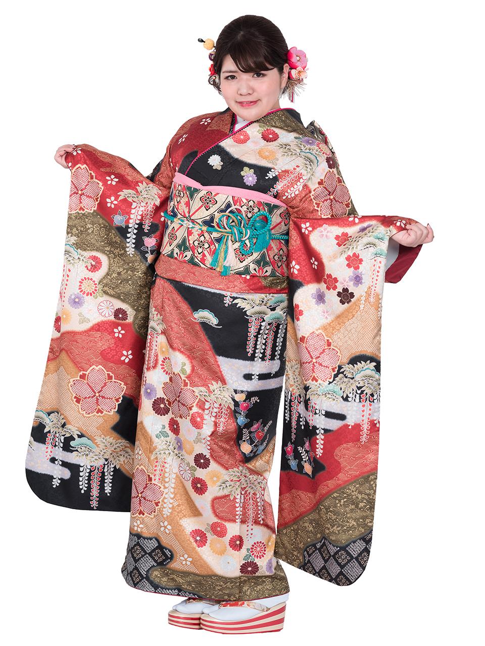 【MKF-01】ふわふわ振袖 古典四季絵羽柄