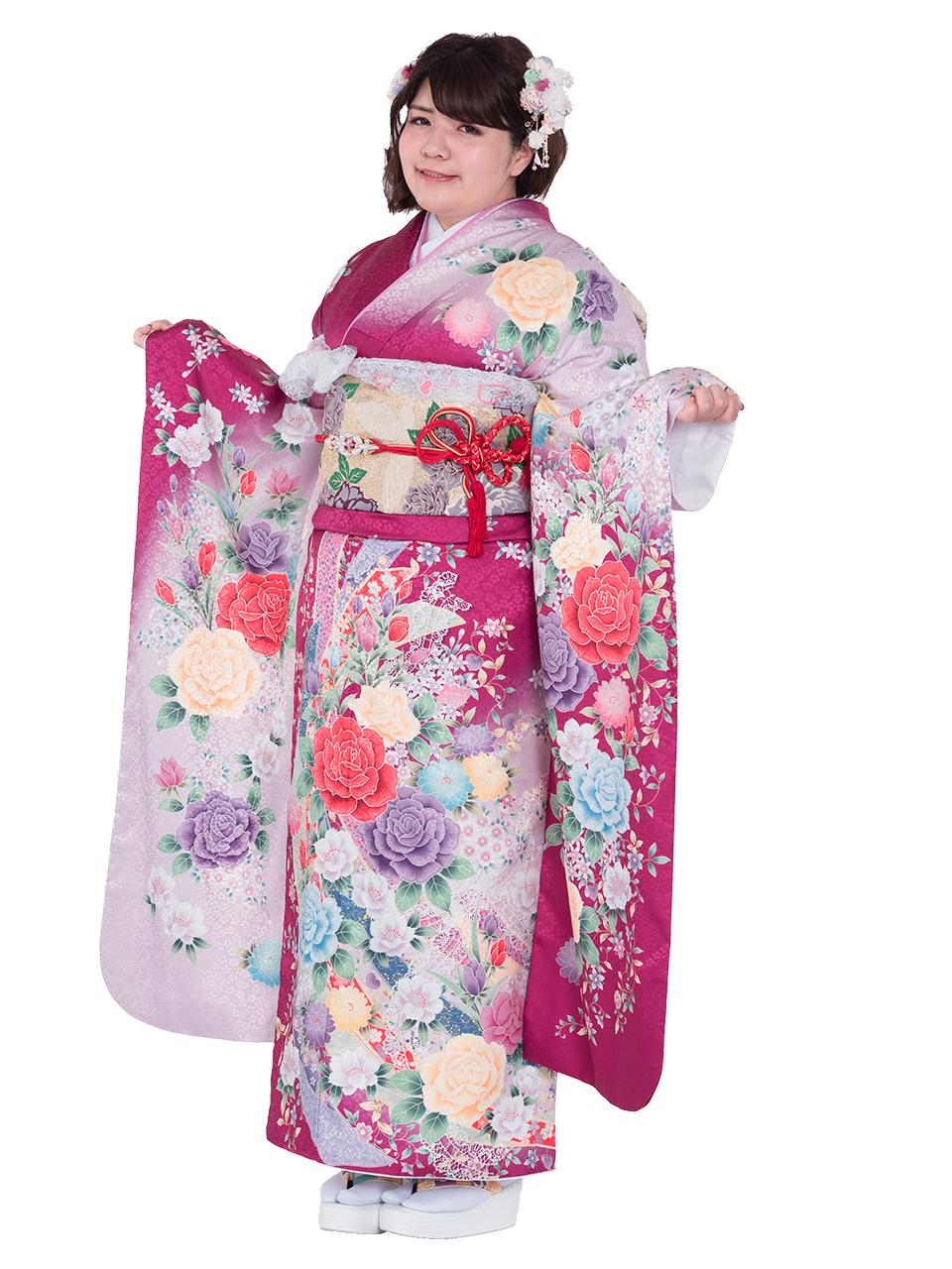 【MKF-02】ふわふわ振袖 ローズピンク×淡ピンク