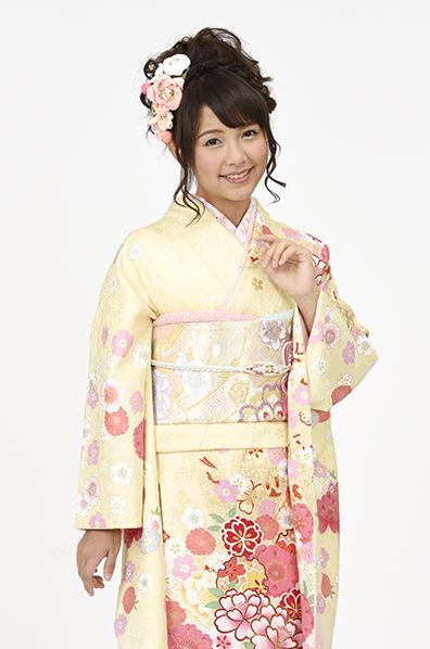 【MKK-28006】★クリームイエロー×ピンクグラデーションの花柄振袖