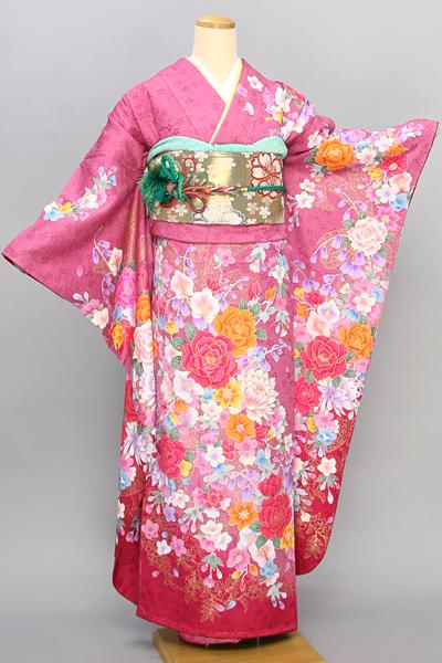 ◆【レンタル専用1805-02400】ピンク地のモダンなバラや洋花柄振袖