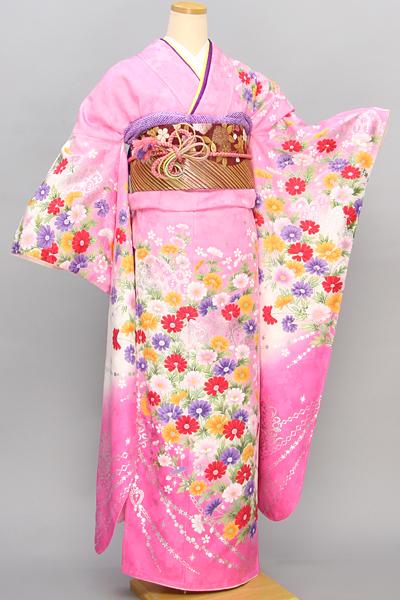 ◆【レンタル専用40001-02401】ピンク地にカラフルキュートなモダン花柄振袖