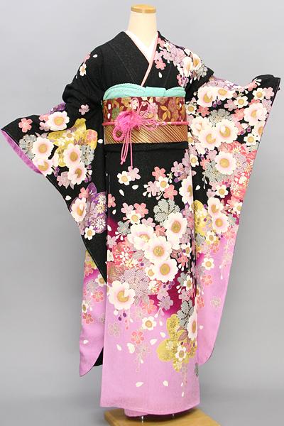 ◆【レンタル専用1805-01655】黒地ピンクぼかしの可憐桜柄振袖