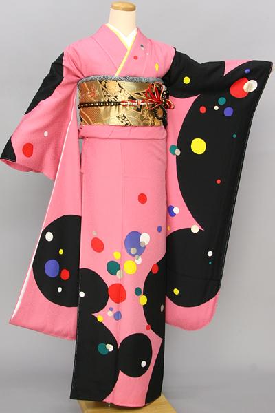 ◆【レンタル専用1805-03405】ピンク地にモダンポップな水玉柄振袖