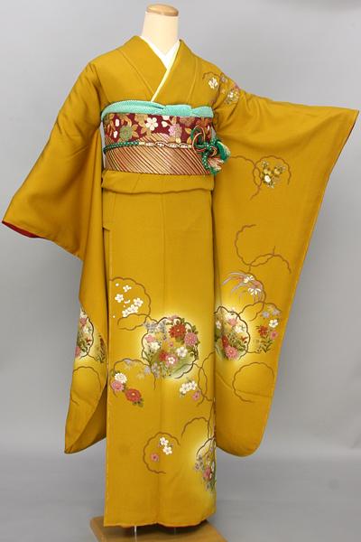 ◆【レンタル専用1805-03364】カラシ地に花紋振袖