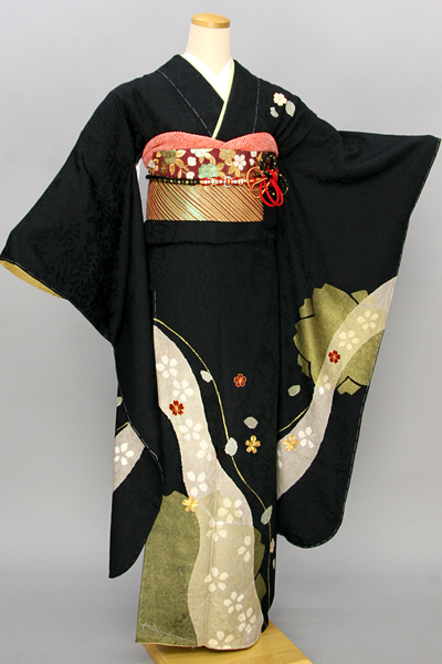 ◆【レンタル専用1805-03369 】黒地にモダン桜柄振袖