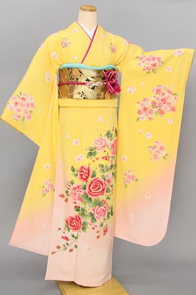 ◆【レンタル専用1805-03371】黄色地にキュートなバラ柄振袖