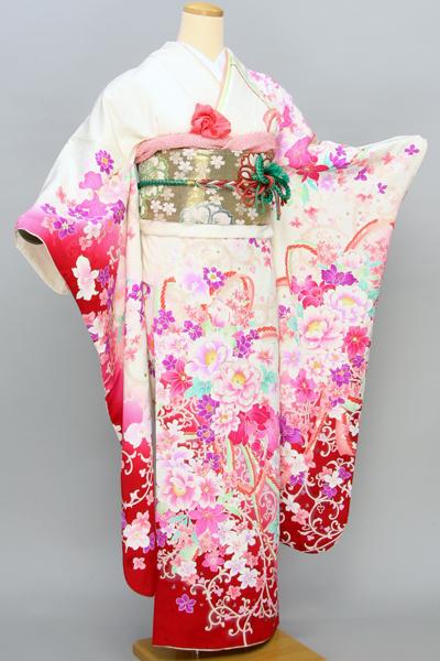 ◆【レンタル専用1805-01418】白地に艶やかキュート花柄振袖