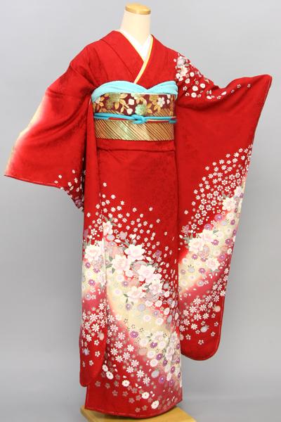 ◆【レンタル専用1805-00632】赤地にはんなり小花柄振袖