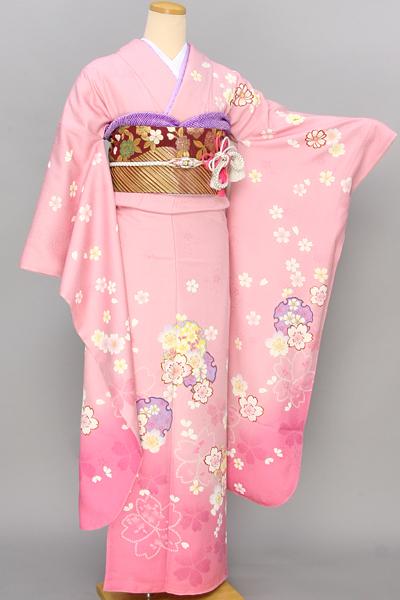 ◆【レンタル専用1805-03384】ピンク地に桜と雪輪柄振袖