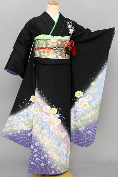 ◆【レンタル専用1805-03385】黒地にエレガントな小花柄振袖