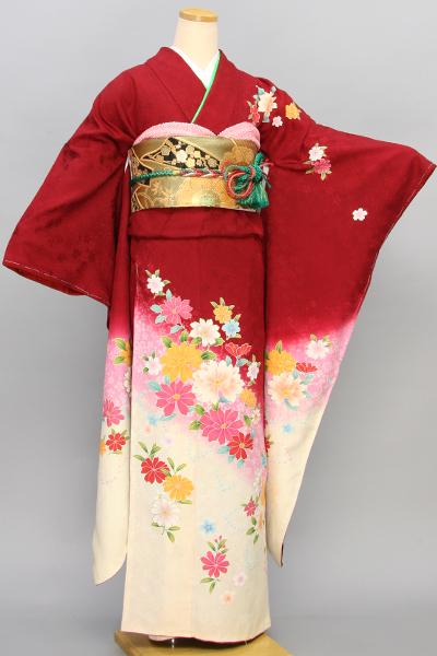◆【レンタル専用1805-01622】赤地に可憐花柄振袖