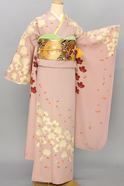 ◆【レンタル専用1805-03391】ピンク地にレトロモダンな桜柄振袖