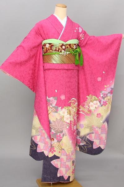 ◆【レンタル専用1805-03395】鮮やかピンク地に毬や花柄振袖