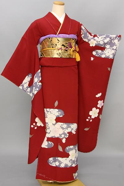 ◆【レンタル専用1805-03396】赤地にヱ霞桜柄振袖