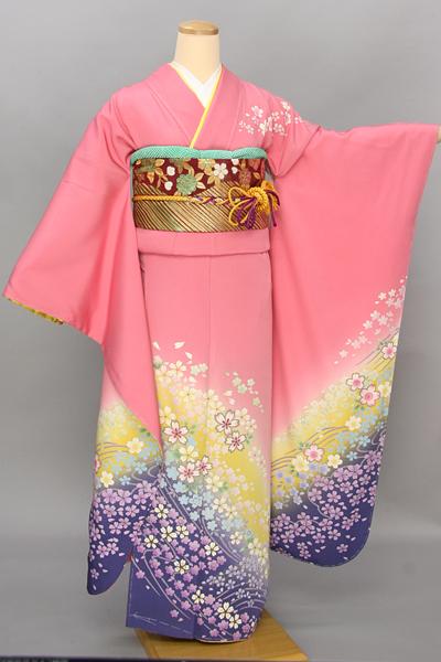 ◆【レンタル専用1805-03414】ピンク地にグラデーション小花柄振袖