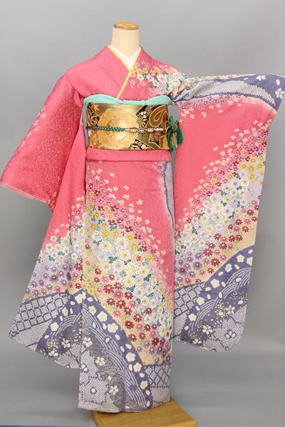 ◆【レンタル専用1805-03425】鮮やかピンク地に辻が花調花柄振袖