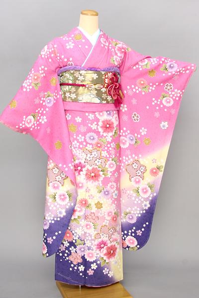 ◆【レンタル専用1805-03428】ピンク地に華やかキュート花柄振袖