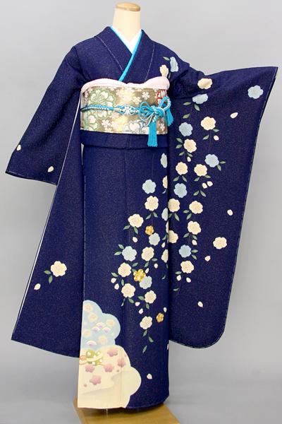 ◆【レンタル専用1805-03411】紺地に桜柄の爽やか振袖