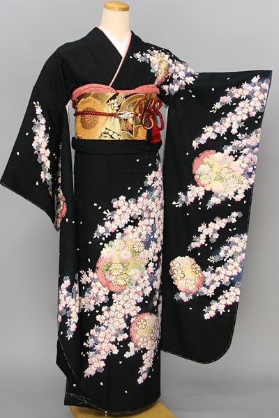 ◆【レンタル専用1805-03440】黒地に桜と雪輪柄振袖
