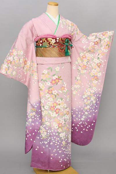 ◆【レンタル専用1805-03442】薄ピンク地にはんなり桜柄振袖