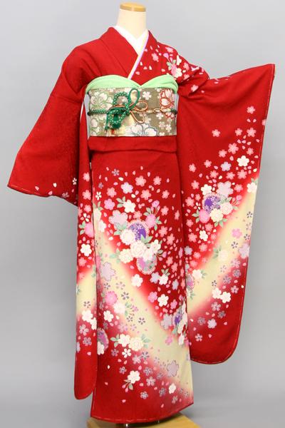 ◆【レンタル専用1805-01625】赤地に華やか小花柄振袖