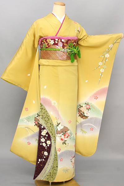 ◆【レンタル専用1805-03445】黄色地に遠山ぼかしの熨斗目花柄振袖
