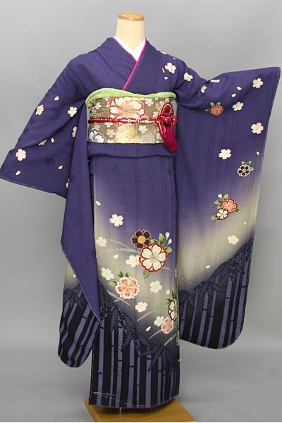 ◆【レンタル専用1805-03447】紺パープルに桜と竹柄振袖