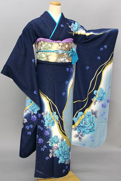 ◆【レンタル専用1805-03450】深青地に艶やか大輪花柄振袖