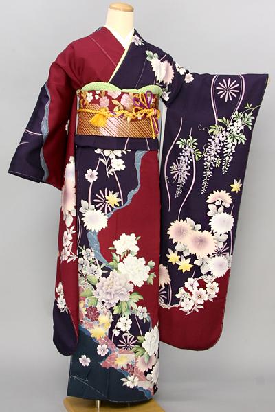 ◆【レンタル専用1805-03454】赤と紫の染め分けに四季花柄振袖