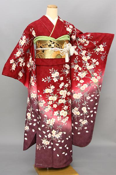 ◆【レンタル専用1805-03457】シック赤地に艶やか桜柄振袖