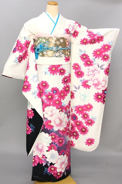 ◆【レンタル専用1805-03458】白黒バイカラーの艶やか花柄振袖
