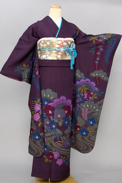 ◆【レンタル専用1805-03432】紫地に松や椿の四季草花柄振袖