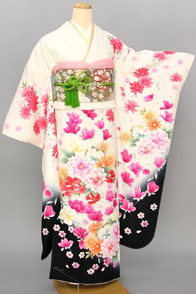◆【レンタル専用1805-03462】白地にモダンカラフル花柄振袖