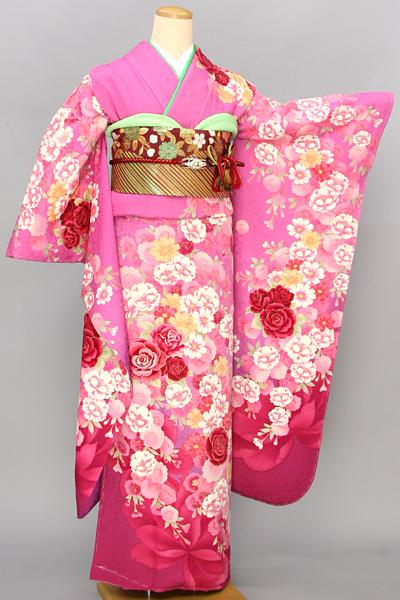 ◆【レンタル専用1805-03465】ピンク地に大輪の艶やかバラ柄振袖