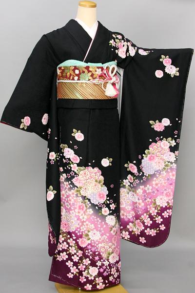 ◆【レンタル専用1805-03446】黒地に桜と菊柄振袖