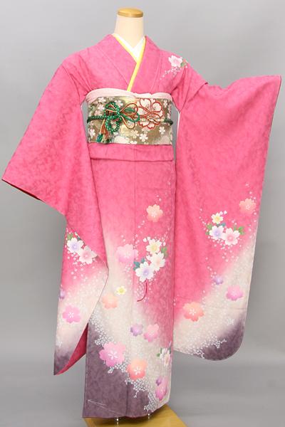 ◆【レンタル専用1809-00134】ピンク地にカラフルキュートな桜柄振袖