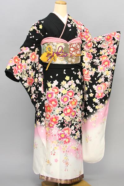 ◆【レンタル専用1805-01663】黒地にふわっとガーリー白ピンクぼかしの桜柄振袖