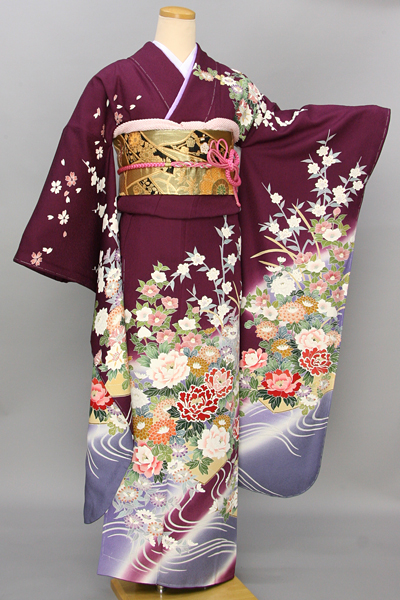 ◆【レンタル専用1805-03469 】紫地にシックエレガントな四季花古典振袖