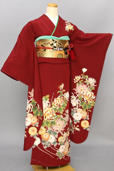 ◆【レンタル専用1809-00014】赤地に菊づくしのはんなり振袖