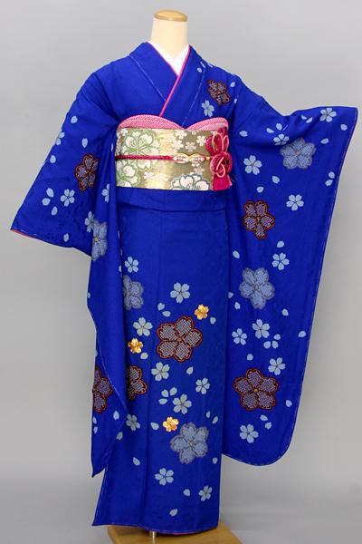 ◆【レンタル専用1809-00027】鮮やか青地に大小桜柄振袖