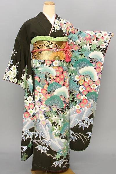 ◆【レンタル専用1805-03485】緑地に松と桜の古典風景柄振袖