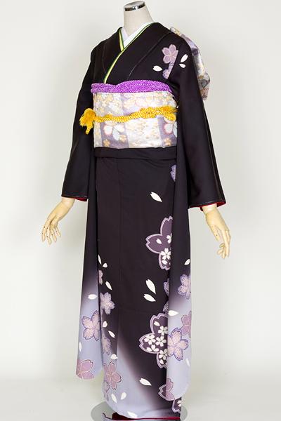◆(京本)【レンタル専用1805-00720】黒地にしっとり桜かのこ絞り柄振袖