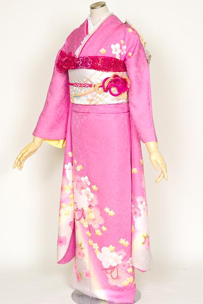 ◆(厚)【レンタル専用 1805-00615】スウィートピンクにふんわりキュートな桜重ね振袖