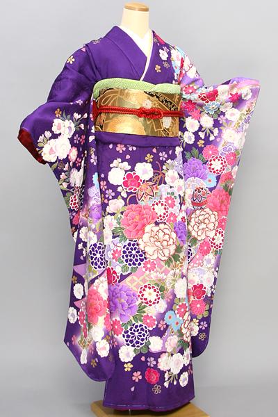 ◆【レンタル専用1805-02396】紫地に艶やか大輪牡丹柄振袖
