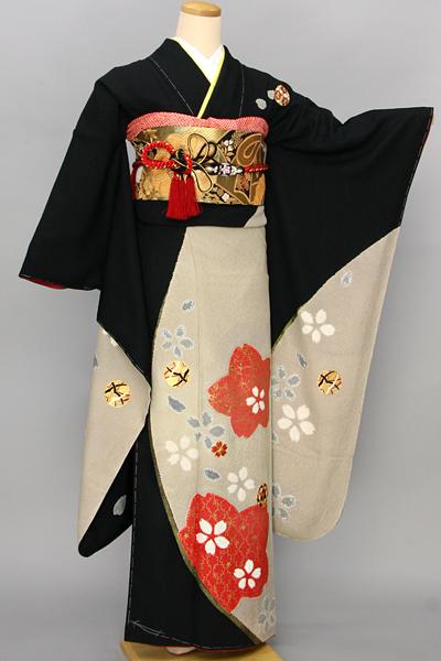 ◆【レンタル専用 1805-03372】黒地に毬とモダン桜柄振袖