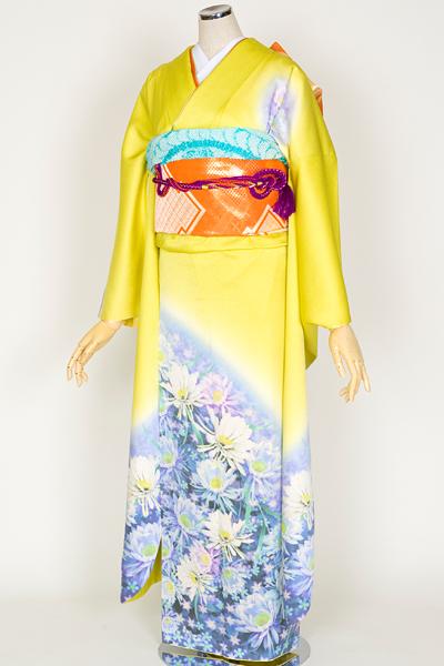 ◆(京本)【レンタル専用1805-00716】黄色地の幻想的な花畑柄振袖