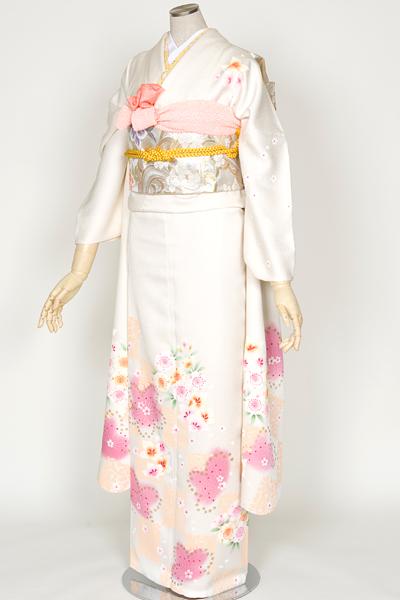 ◆(向)【レンタル専用 1805-00433】ピュアホワイトな白地にふんわりガーリーな桜柄振袖