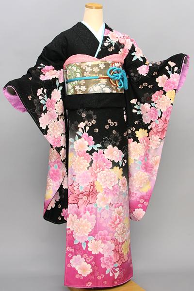 ◆【レンタル専用1805-01633】黒地にピンクぼかしのクールキュートな花柄振袖