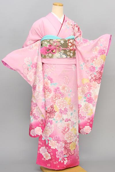 ◆【レンタル専用1805-01643】ピンク地に華やか花柄のキュート振袖