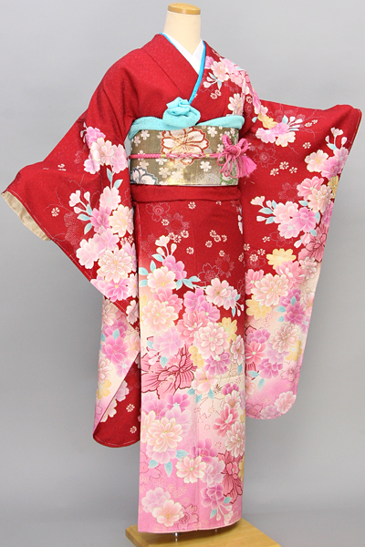 ◆【レンタル専用1805-01639/642】赤地に華やか花柄のキュート振袖